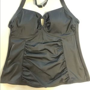 Lands' End halter ruched front tankini top